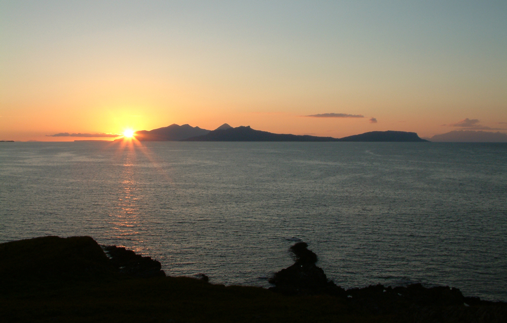 Rhum & Eigg Sunset from Air an Oir